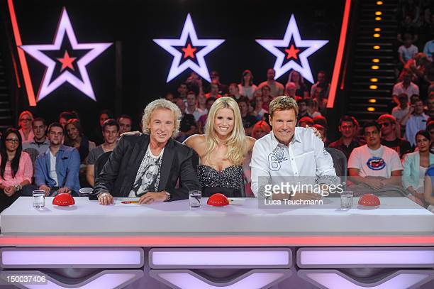 Thomas Gottschalk Michelle Hunziker and Dieter Bohlen attend the 'Das Supertalent' Jury Photocall at Tempodrom on August 9 2012 in Berlin Germany