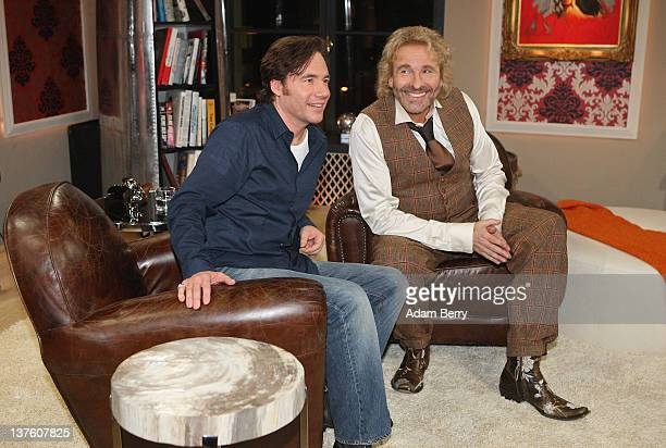 Thomas Gottschalk the German television host best known for hosting the program 'Wetten dass' poses with his first guest German actor Michael 'Bully'...