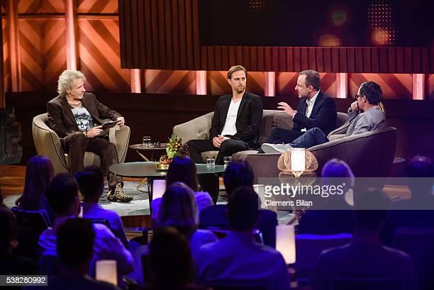 Thomas Gottschalk Timo Hildebrand Peter Neumann and Matthias Opdenhoevel on the TV Show 'Mensch Gottschalk Das bewegt Deutschland' on June 5 2016 in...