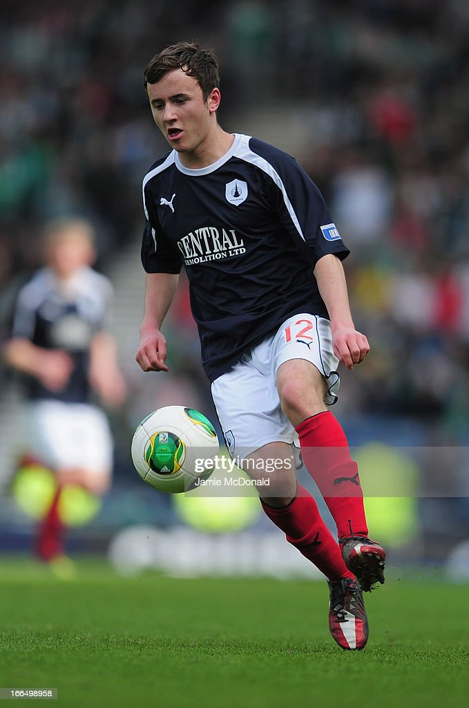 Thomas Grant of Falkirk in action during The William Hill Scottish Cup Semi Final between Falkirk and Hibernian at Hampden Park on April 13, 2013 in Glasgow, United Kingdom.