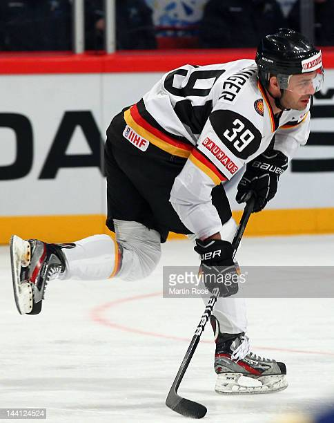 Thomas Greilinger of Germany skates against Sweden during the IIHF World Championship group S match between Sweden and Germany at Ericsson Globe on...