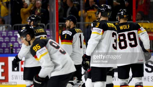 Thomas Greiss goalkeeper of Germany looks on before the 2017 IIHF Ice Hockey World Championship game between Denmark and Germany at Lanxess Arena on...