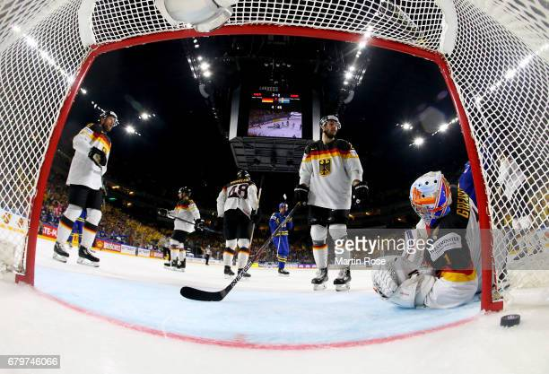 Thomas Greiss goaltender of Germany looks dejected during the 2017 IIHF Ice Hockey World Championship game between Germany and Sweden at Lanxess...