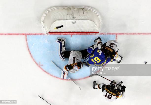 Thomas Greiss goaltender of Germany makes a save during the 2017 IIHF Ice Hockey World Championship game between Germany and Sweden at Lanxess Arena...