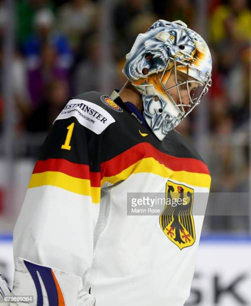 Thomas Greiss goaltender of Germany reacts during the 2017 IIHF Ice Hockey World Championship game between Germany and Sweden at Lanxess Arena on May...