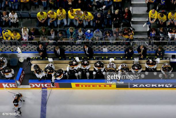 Thomas Greiss goaltender of Germany skates dejected off the ice during the 2017 IIHF Ice Hockey World Championship game between Germany and Sweden at...