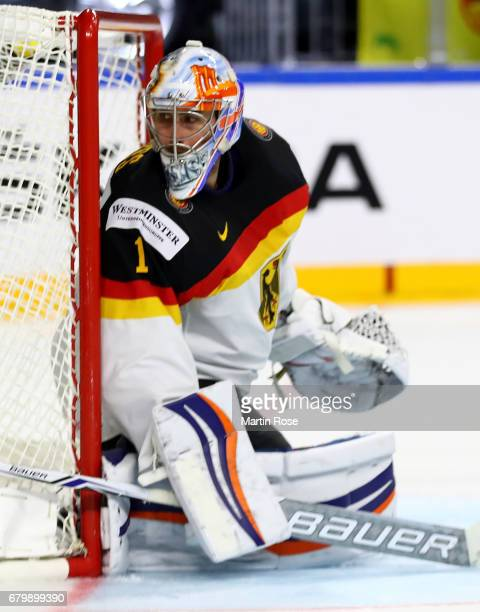 Thomas Greiss goaltender of Germany tends net during the 2017 IIHF Ice Hockey World Chmpionship game between Germany and Sweden at Lanxess Arena on...