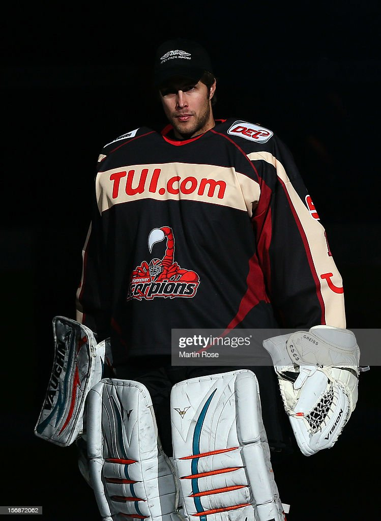 Thomas Greiss, goaltender of Hannover looks on before the DEL match between Hannover Scorpions and Duesseldorfer EG at TUI Arena on November 23, 2012 in Hanover, Germany.