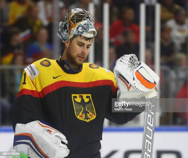 Thomas Greiss of Germany looks dejected during the 2017 IIHF Ice Hockey World Championship game between Germany and Russia at Lanxess Arena on May 8...