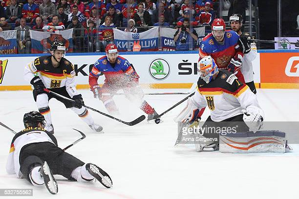 Thomas Greiss of Germany makes a save against Russia at Ice Palace on May 19 2016 in Moscow Russia Russia defeated Germany 41