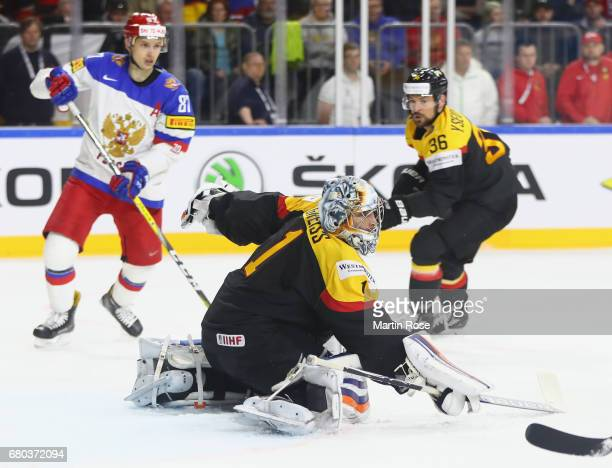 Thomas Greiss of Germany makes a save during the 2017 IIHF Ice Hockey World Championship game between Germany and Russia at Lanxess Arena on May 8...