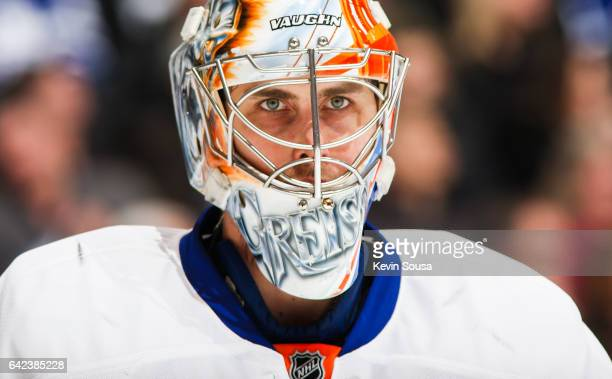 Thomas Greiss of the New York Islanders during the second period at an NHL game against the Toronto Maple Leafs at the Air Canada Centre on February...