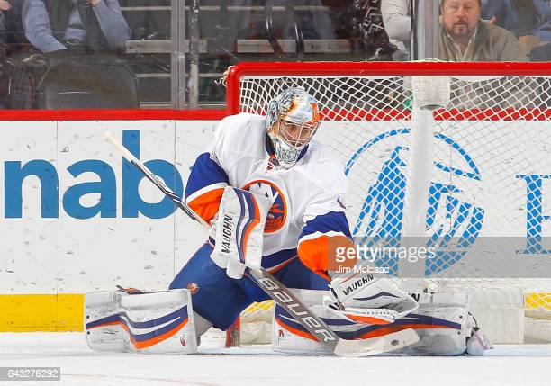 Thomas Greiss of the New York Islanders in action against the New Jersey Devils on February 18 2017 at Prudential Center in Newark New Jersey The...