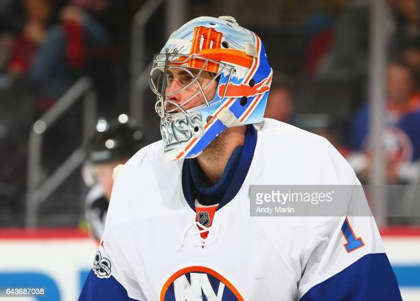 Thomas Greiss of the New York Islanders looks on against the New Jersey Devils during the game at Prudential Center on February 18 2017 in Newark New...