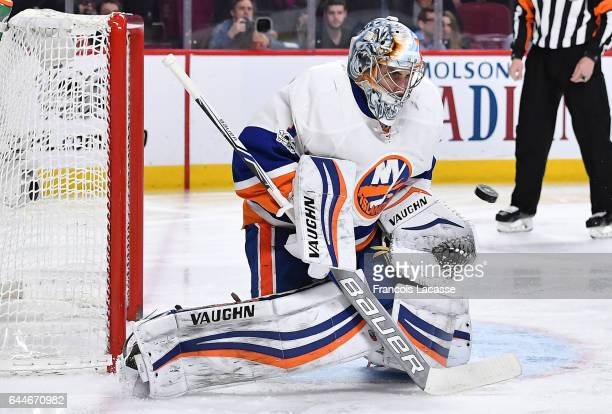 Thomas Greiss of the New York Islanders makes a save on a shot by the Montreal Canadiens in the NHL game at the Bell Centre on February 23 2017 in...