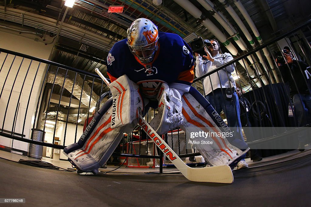 <a gi-track='captionPersonalityLinkClicked' href=/galleries/search?phrase=Thomas+Greiss&family=editorial&specificpeople=695275 ng-click='$event.stopPropagation()'>Thomas Greiss</a> #1 of the New York Islanders preapares for warm-ups prior to the game against the Tampa Bay Lightning in Game Three of the Eastern Conference Second Round during the NHL 2016 Stanley Cup Playoffs at the Barclays Center on May 3, 2016 in Brooklyn borough of New York City.