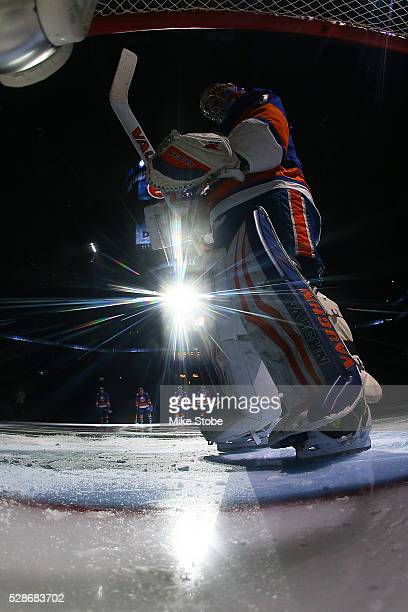 Thomas Greiss of the New York Islanders prepares for the game against the Tampa Bay Lightning in Game Four of the Eastern Conference Second Round...