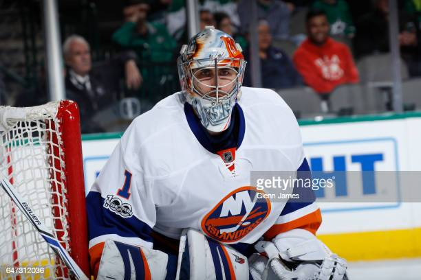 Thomas Greiss of the New York Islanders tends goal against the Dallas Stars at the American Airlines Center on March 3 2017 in Dallas Texas