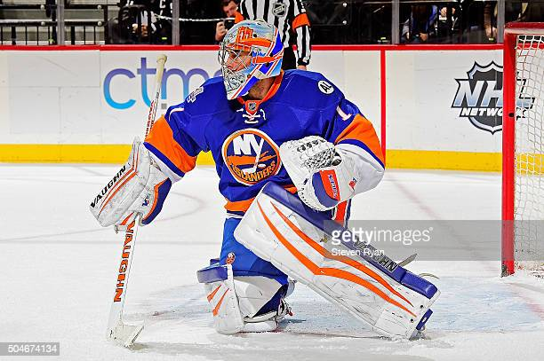 Thomas Greiss of the New York Islanders tends to net against the Dallas Stars at Barclays Center on January 3 2016 in New York City The New York...