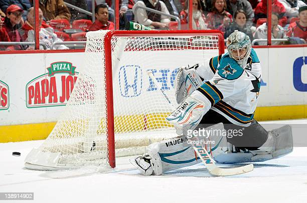 Thomas Greiss of the San Jose Sharks makes a save against the Washington Capitals at the Verizon Center on February 13 2012 in Washington DC