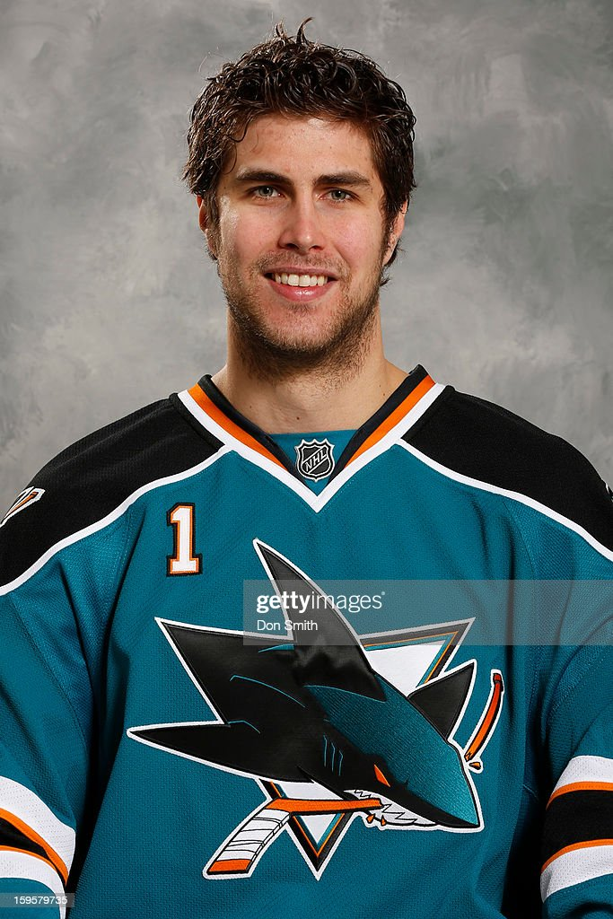 Thomas Greiss #1 of the San Jose Sharks poses for his official headshot for the 2012-13 season on January 13, 2013 at Sharks Ice in San Jose, California.