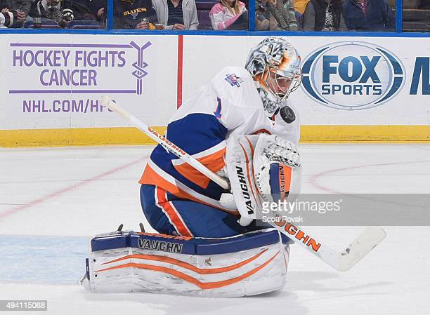 Thomas Greiss the New York Islanders makes a save against the St Louis Blues on October 24 2015 at Scottrade Center in St Louis Missouri