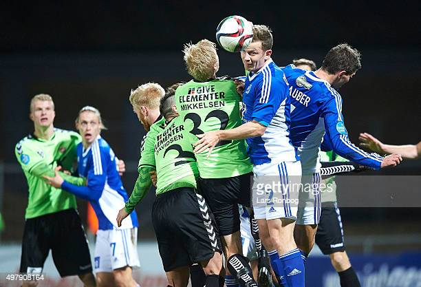 Thomas Guldborg Christensen of Lyngby Boldklub and Thomas Mikkelsen of Vejle Boldklub compete for the ball during the Danish 1th Division Bet25 Liga...