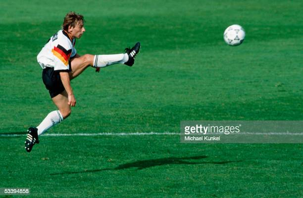 Thomas Haessler of Germany strikes the ball during the Euro 92 match between Scotland and Germany on June 15 1992 in Norrkoping Sweden Germany won...