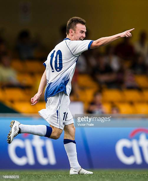 Thomas Halder of HKFC Captain's Select celebrates after scoring against Leicester City on day two of the Hong Kong International Soccer Sevens at...