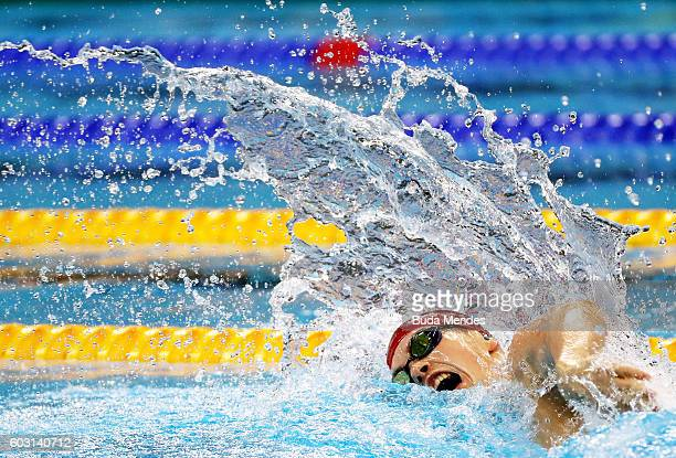 Thomas Hamer of Great Britain competes in the Men's 200m Freestyle S14 Final on day 4 of the Rio 2016 Paralympic Games at the Olympic Aquatics...