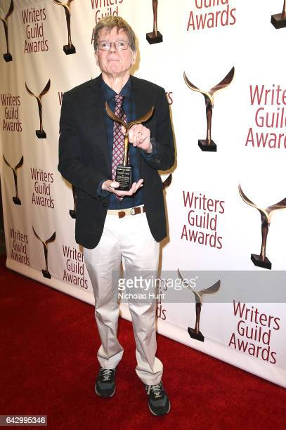 Thomas Harris poses with award backstage during 69th Writers Guild Awards New York Ceremony at Edison Ballroom on February 19 2017 in New York City