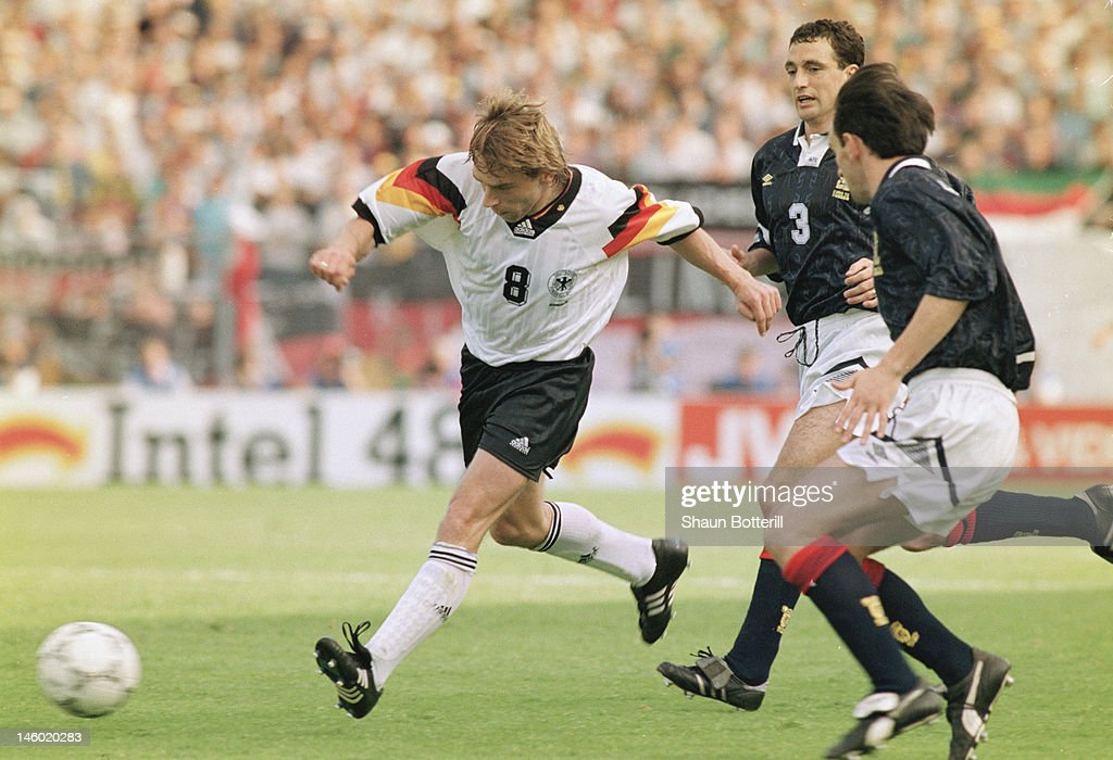 Thomas Hassler of Germany bursts forward during the UEFA European Championships 1992 Group 2 match between Scotland and Germany held at the Norrkopings Idrottsparken on June 15, 1992 in Norrkoping, Sweden.