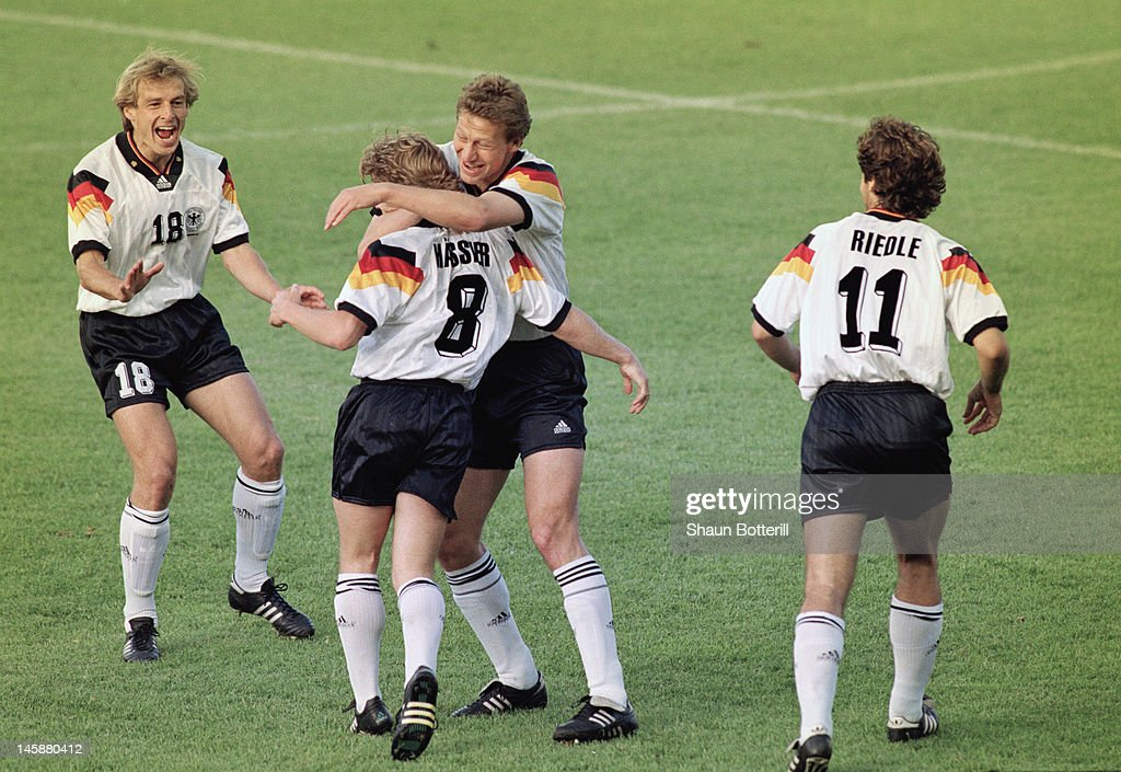 Thomas Hassler of Germany celebrates opening the scoring with team-mates during the UEFA European Championships 1992 Semi-Final between Sweden and Germany held at the Rasunda Stadium on June 21, 1992 in Solna, Sweden.