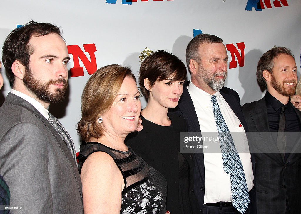 Thomas Hathaway, producer Kate McCauley Hathaway, daughter Anne Hathaway, Gerald Hathaway and Adam Shulman attend the opening night of 'Ann' at Vivian Beaumont Theatre at Lincoln Center on March 7, 2013 in New York City.