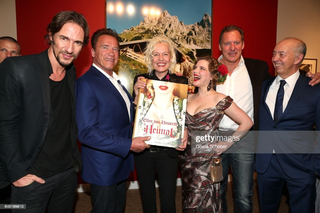 Thomas Hayo, Arnold Schwarzenegger, Photographer Ellen von Unwerth and Syrie Moskowitz, Ralf Moeller and Benedikt Taschen during the opening night of Ellen von Unwerth's photo exhibition at TASCHEN Gallery on February 24, 2017 in Los Angeles, California.