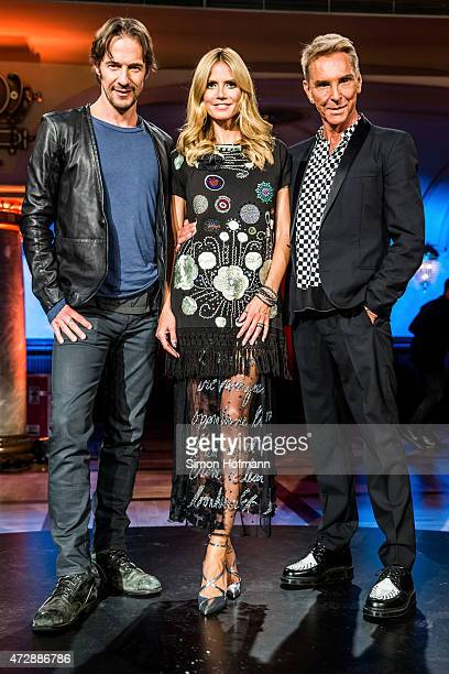 Thomas Hayo Heidi Klum and Wolfgang Joop pose during a photo call for the tv show 'Germany's Next Topmodel' on May 10 2015 in Heidelberg Germany The...