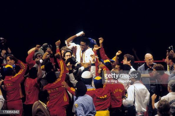 Thomas Hearns celebrates winning the fight against Wilfredo Benitez at the Superdome in New Orleans Louisiana Thomas Hearns won the WBC light...