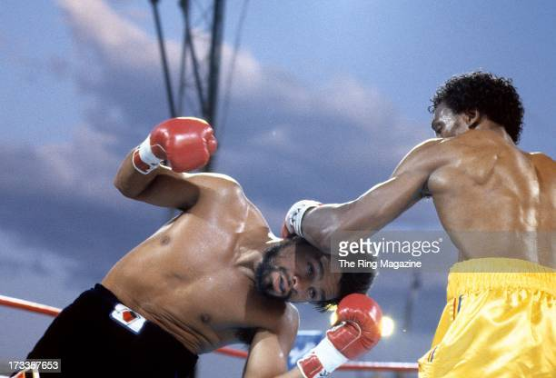 Thomas Hearns lands a punch against Roberto Duran during the fight at Caesars Palace in Las Vegas Nevada Thomas Hearns won the WBC light middleweight...