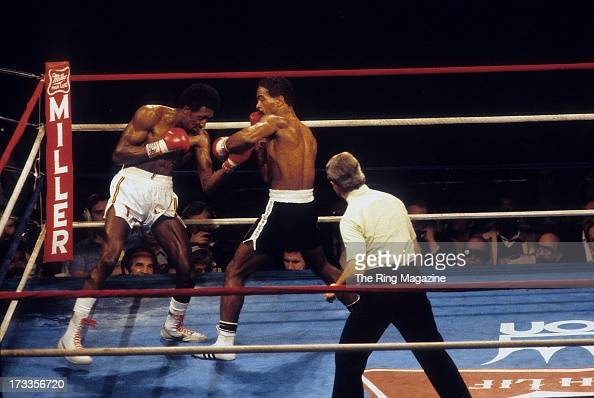 Thomas Hearns lands an uppercut against Wilfredo Benitez during the fight at the Superdome in New Orleans Louisiana Thomas Hearns won the WBC light...