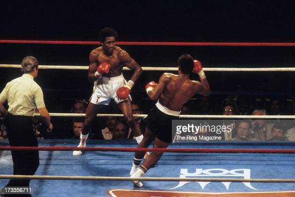 Thomas Hearns moves to land a punch against Wilfredo Benitez during the fight at the Superdome in New Orleans Louisiana Thomas Hearns won the WBC...