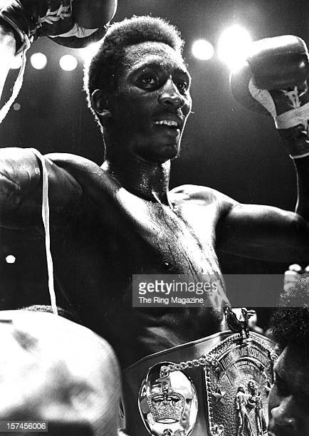 Thomas Hearns wears his belt as he celebrates winning the fight against Pipino Cuevas at Joe Louis Arena on August 21980 in Detroit Michigan Thomas...