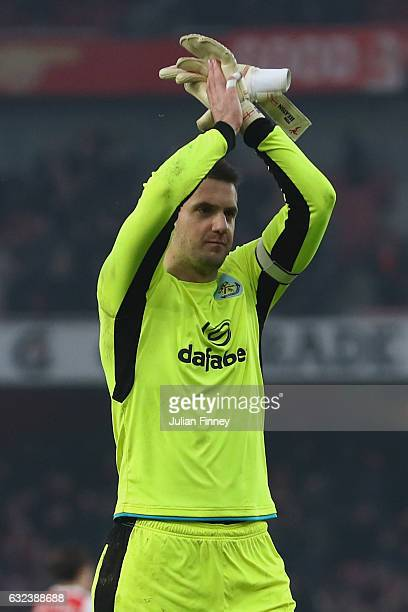 Thomas Heaton of Burnley applauds after the Premier League match between Arsenal and Burnley at the Emirates Stadium on January 22 2017 in London...