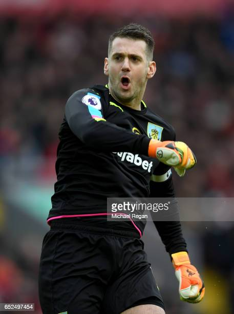 Thomas Heaton of Burnley celebrates his sides first goal after Ashley Barnes of Burnley scored during the Premier League match between Liverpool and...