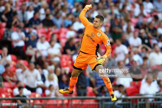 Thomas Heaton of Burnley celebrates his sides first goal during the Premier League match between Tottenham Hotspur and Burnley at Wembley Stadium on...