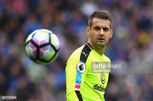 Thomas Heaton of Burnley in action during the Premier League match between Leicester City and Burnley at The King Power Stadium on September 17 2016...