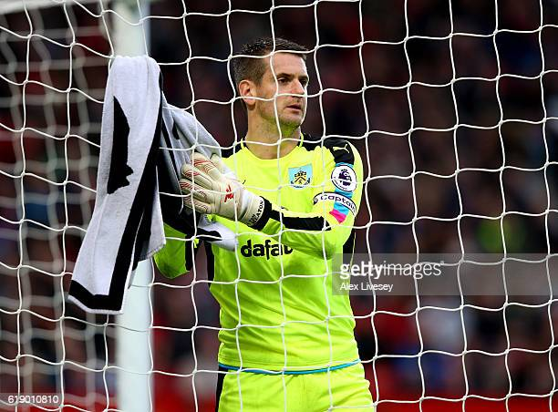 Thomas Heaton of Burnley in action during the Premier League match between Manchester United and Burnley at Old Trafford on October 29 2016 in...
