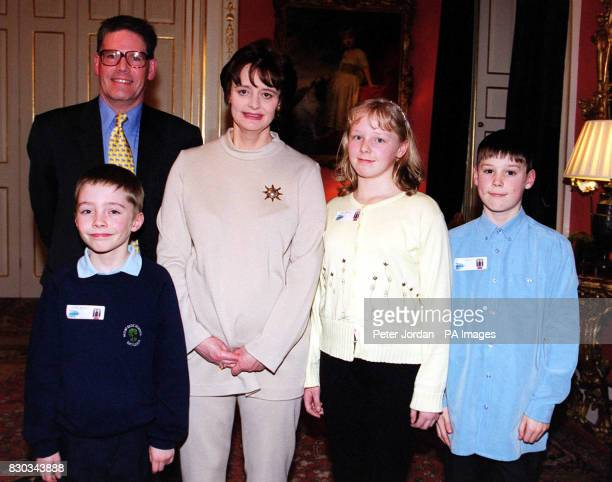 Thomas Heaton Stacy Bashall and Jack Doolan from the South Ribble area with British Prime Minister's wife Cherie Blair and local MP David Borrow...