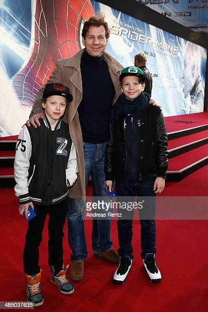 Thomas Heinze and his children attend the 'The Amazing SpiderMan 2 Rise Of Electro' Berlin Premiere at Hotel Adlon on April 15 2014 in Berlin Germany