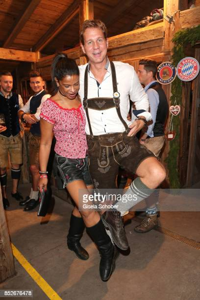Thomas Heinze and his wife Jackie Brown during the Oktoberfest at Theresienwiese on September 23 2017 in Munich Germany