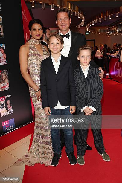 Thomas Heinze with son Lennon and son Sam and Jackie Brown attend the '20 Jahre Gala' Anniversary Celebration The Private Birthday Cruise on board of...